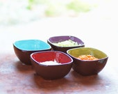 Colorful Prep Bowls, Dip Bowls, Pottery Bowls,Ceramic Bowls, Urban Fusion X Small Square Bowls Set of 4, Kitchen Serving Gourmet Chef Gift