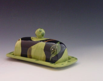 Butter Dish READY TO SHIP Ceramic Butter Dish Covered Butter Dish Pear Butter Dish Green Pear Pottery Hostess Gift Gift for Couple P