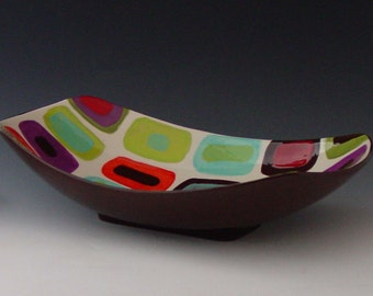 Serving Dish Serving Bowl Retro Pottery Geometric Fusion Large Scooped Serving Dish Ceramic Bowl Mid Century Modern Gift for Coworker GF