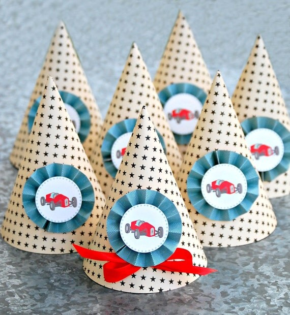 NEW The Vintage RaceCar Collection - Set of Six Custom Party Hats from Mary Had a Little Party