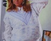 Knitting pattern, short sleeves sweater V neck for women bulky yarn 80s vintage, Patons