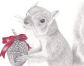 Squirrel Holding Nutty Gift set of 10 Holiday Cards