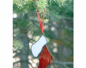 FREE SHIPPING - Christmas Sock Tree Ornament - Stained Glass (G1225)