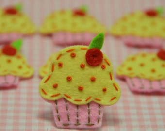 Set of 6pcs handmade felt cupcake--baby pink (FT834)
