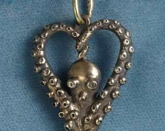 Octopus Love Bronze Pendant