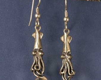 Baby Squid Bronze Earrings