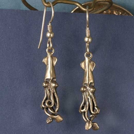 Baby Squid Bronze Earrings