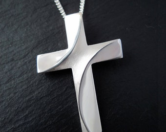 Silver Cross Large River Jordan Cross Silver Chain Spiritus Christian Jewelry Collection