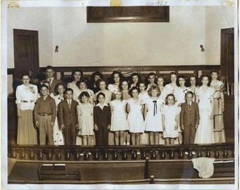 SUNDAY SCHOOL CLASS Photo - Fall 1947 - 8 x 10 Sepia