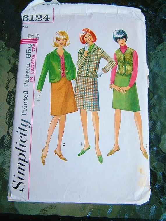 Vintage 1960's Suit Pattern Womens Size 12 Suit Pattern and Vest Pattern Size Medium Size Large Retro Simplicity Secretary Style