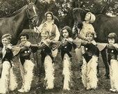Cowgirls Line Up, Vintage 1920's B&W Photograph, Digital Scan, Lenora Dorian Galveston Texas, Performer, Horses, Cowgirls