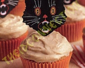 Halloween Black Cat Cup Cake Toppers, Kitty Cats Holiday cupcake Art Deco Satan's Kitten Topper, 12 Pussy Cats, Spooky Party Decorations