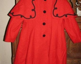 Christmas Coat Victorian 1880's style Red Cape Rothschild Coat & Black Velvet, Dickens X-Mas Childs Girl size 6X, retro 1970's Fashion
