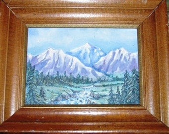 Vintage Oil Painting, Rocky Mountains, Purple Mountains Majesty, Fruited Plains, America, Stream
