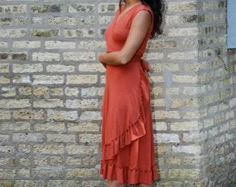 Jasper ~ Ruffled Wrap Dress ~ Organic Cotton Blend ~ Made to Order