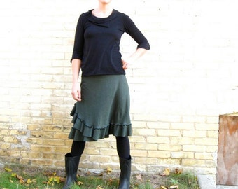 Organic Cotton Jersey & Hemp Ruffled Wrap Skirt