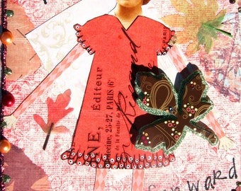 Embellished handmade paper journal, 5x7, Mixed Media, Look Forward