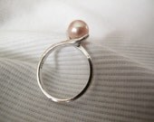 Peach Culture Freshwater  Pearl Sterling Silver Ring