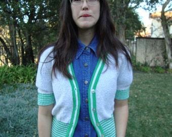 Vintage Striped Short-Sleeve Cardigan XS/S
