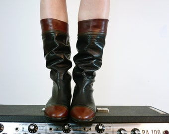 Vintage Leather Boots • Riding Boots • Campus Boots • Slouchy Leather Riding Boots • Two Tone Leather Boots • Black and Brown Leather Boots