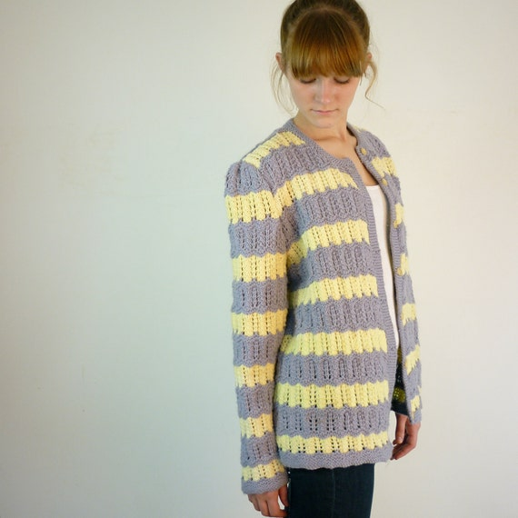 Spring Cardigan / Yellow and Gray Striped Sweater