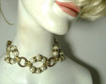 Glam Pearl Choker or Necklace..Ecochic Recycled, OOAK, Chunky Gold Chains too, Retro Metro by Rachelle Starr for Starrbeads