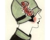Art Deco print - art print . Art Deco Millie 4 X 6 print - 4 for 3 SALE