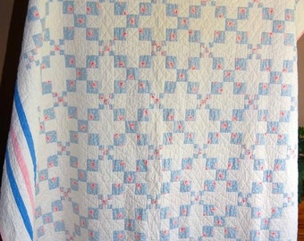 Vintage Natural, Blue And Pink 9 Patch Quilt Hand Quilted