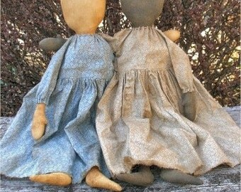 Simple Gals EPATTERN - primitive country cloth doll craft digital download sewing pattern PDF - 1.99