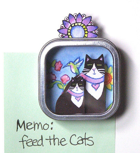 SALE... Tuxedo Cat Mom Shadow Box Refrigerator Magnet... Art for Your Fridge...