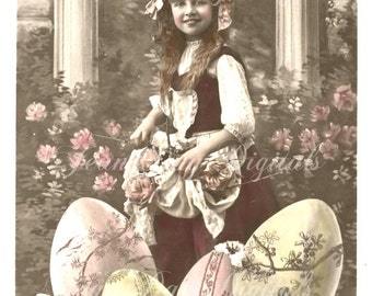 Spring Easter, Lovely Lucie wishing you a Heureuses Paques- French Postcard 1908 - Photo Scan -Instant Digital Download FrA076