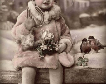 French Christmas, Yvon in her Pink Coat, birds - French Postcard  - Scan, Gift Tag Instant Digital Download - FC052