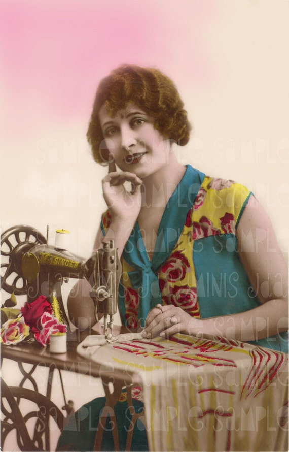 Sewing, Mademoiselle Louise - French Postcard 1926 - Photo Scan - Instant Digital Download FrA071