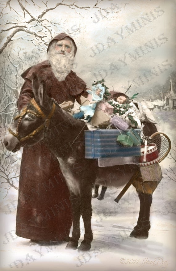French Christmas Santa Or Pere Noel on vintage postcard