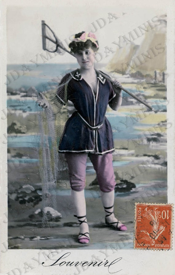 Aimee at the Beach, Nautical, Bathing Fashion, gift tag - French Postcard -Instant Digital Download FrA096