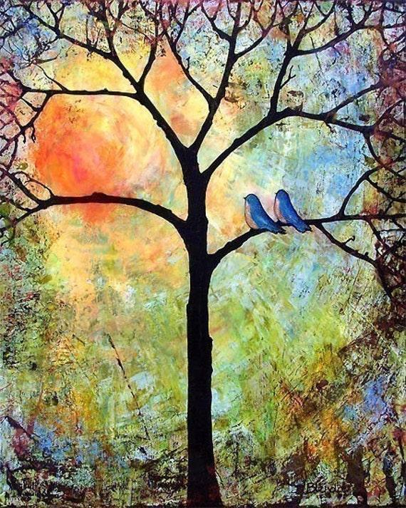 Tree of Life Bird Tree Print, 8X10, Love Sunshine Art