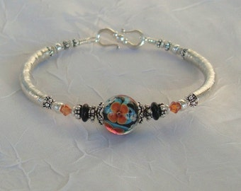 Spice  Delight   Lampwork Sterling Crystal Bangle Bracelet   dmfsparkles