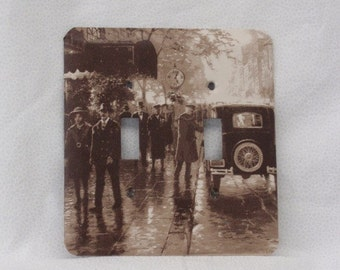 1920's Street Scene -  Seipa Tones - Light Switch Plate - Double Toggle