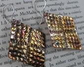Oxidized Copper Earrings ~ Stamped Copper Earrings ~ Copper Drop Earrings