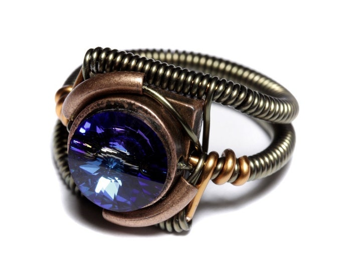 Steampunk Jewelry - Ring - Bermuda Blue Swarovski Crystal