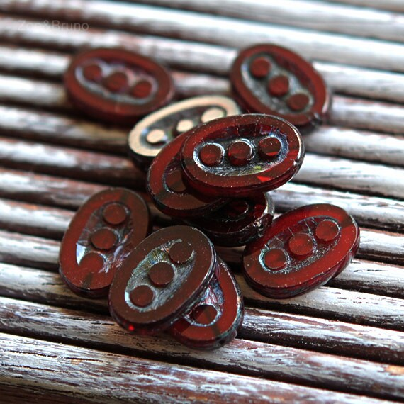 True Blood - Czech Glass, Translucent Red, Picasso, Three Dot Ovals 18x12mm - 4 Pc