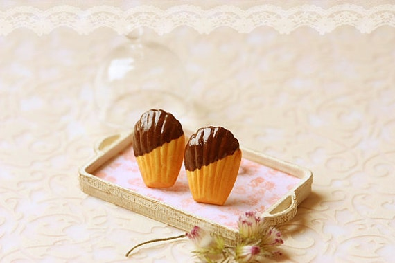 Food Earrings - Chocolate French Madeleine Earring Studs - Gift Under 20