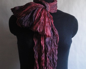 Red Silk Scarf Shawl Wrap Hand Dyed Extra from Textured Silks Collection - Wild Berry