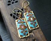 Jewel tones, Ruby, Rhodolite garnet gold earrings - vermeil and Vintage Brass - Jewelled Seascape