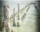 Sea pier, Ocean photography, Nature photography, Lanscape photography, Nautical decor, Beach photograph, seashore decor, Pale Blue Pastel