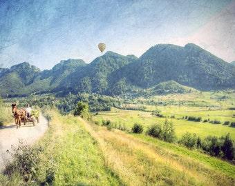 Horse Photograph, Horse Carriage, Horse Art, equine photography, Horse print, farm decor, horse photography,french photo art,hot air balloon