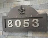 House Numbers Fleur De Lis ADDRESS PLAQUE Oil Rubbed Bronze