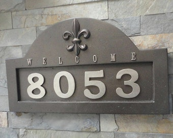 House Numbers Fleur De Lis ADDRESS PLAQUE Oil Rubbed Bronze