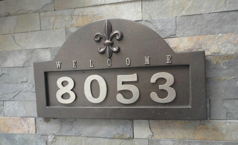 House numbers fleur de lis address plaque oil rubbed bronze for Classic house number plaque