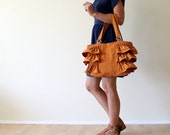 Last ONE Flamenco in Dark Mustard Tote Bag / Canvas Ruffles Bag / High Fashion / Shoulder Bag / Zipper Closure / Burnt Orange / Rust / Large